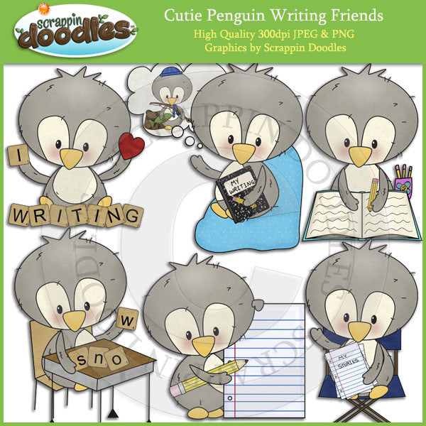 Cutie Penguin Writing Friends Clip Art Download