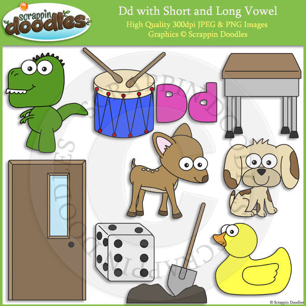 Dd Short and Long Vowel Clip Art and Line Art