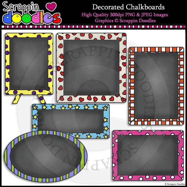 Decorated Chalkboards Clip Art & Line Art