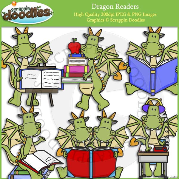 Dragon Readers Clip Art