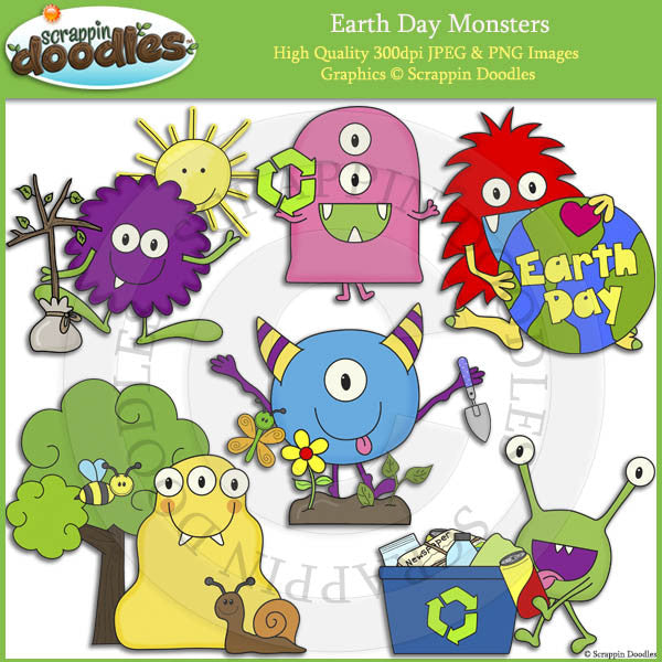 Earth Day Monsters Clip Art