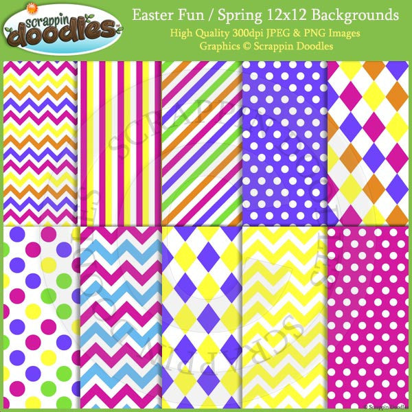 Easter Fun / Spring 12x12 Backgrounds Download