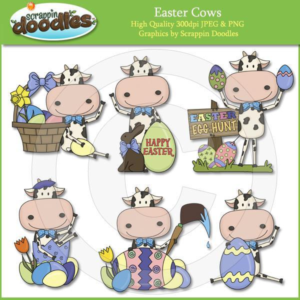 Easter Cows Clip Art Download