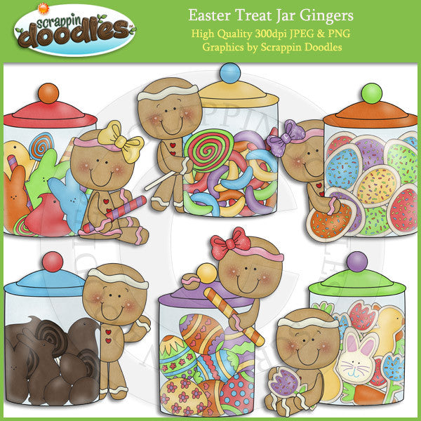 Easter Treat Jar Gingers Clip Art Download