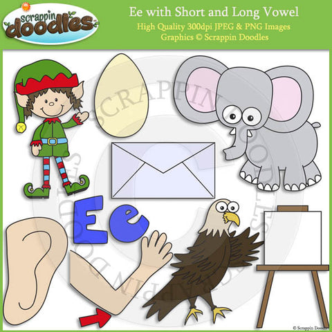 Ee Short and Long Vowel Clip Art and Line Art