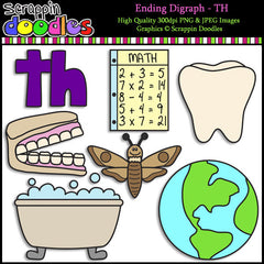 Beginning & Ending Digraph TH Clip Art Bundle