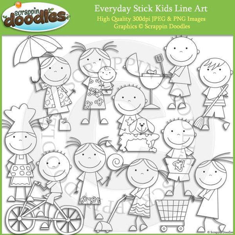 Everyday Stick Kids Clip Art