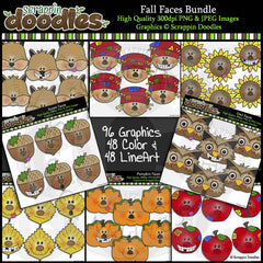 Fall Faces BUNDLE Clip Art & Line Art