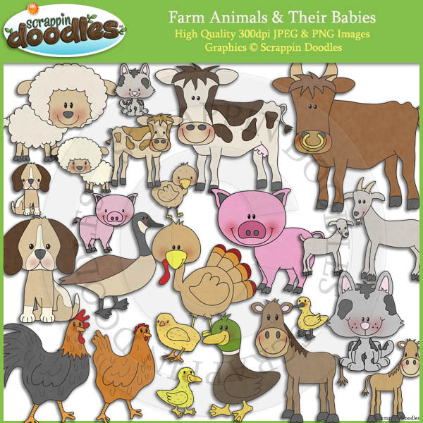 Farm Animals and Babies Clip Art