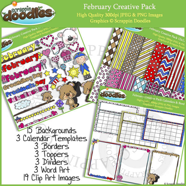 February Creative Pack Clip Art, Backgrounds, Borders & More