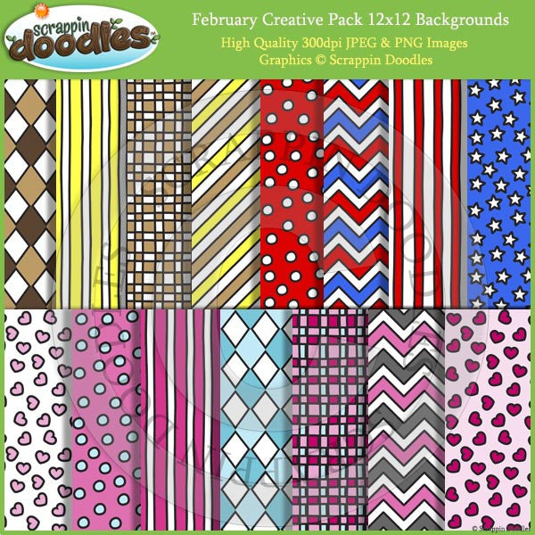 February Creative Pack , Backgrounds, Borders & More