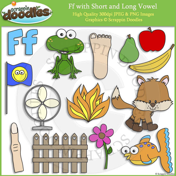 Ff Short and Long Vowel Clip Art and Line Art