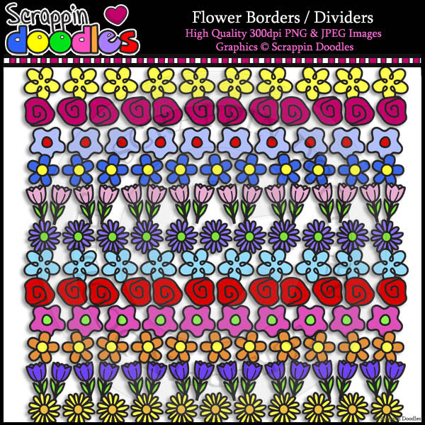 Flower Borders / Dividers Clip Art & Line Art