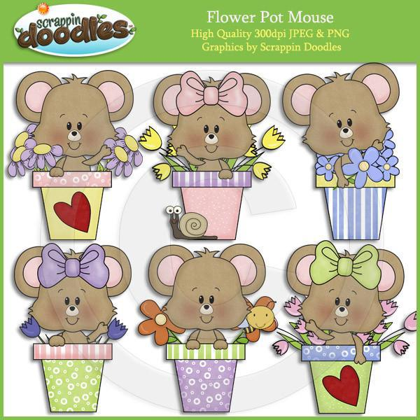 Flower Pot Mouse Clip Art Download