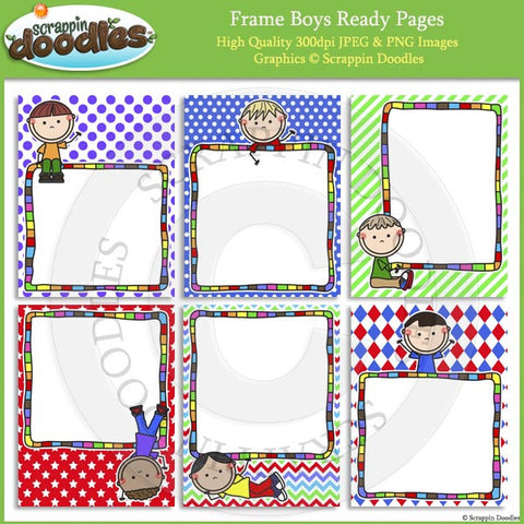 Frame Boys 8 1/2 x 11 Ready Pages / Cover Pages Color & Line Art