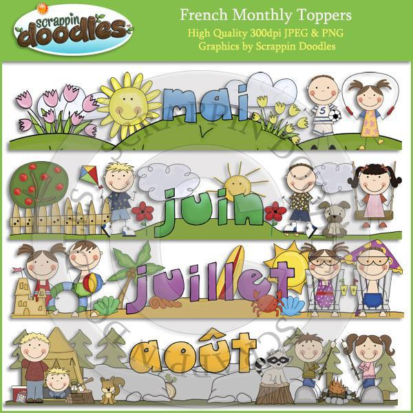 FRENCH Monthly Toppers - Jan through Dec Download