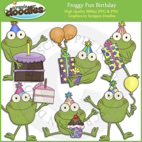 Froggy Fun Birthday Clip Art