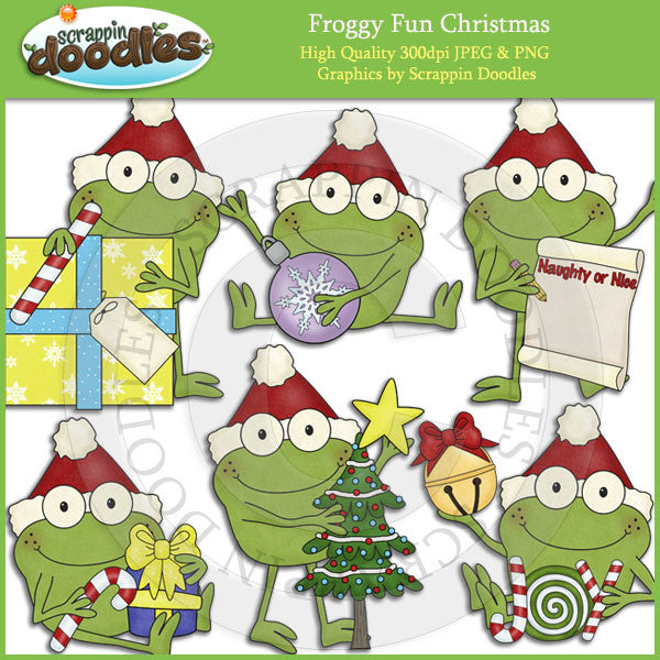 Froggy Fun Christmas Clip Art Download