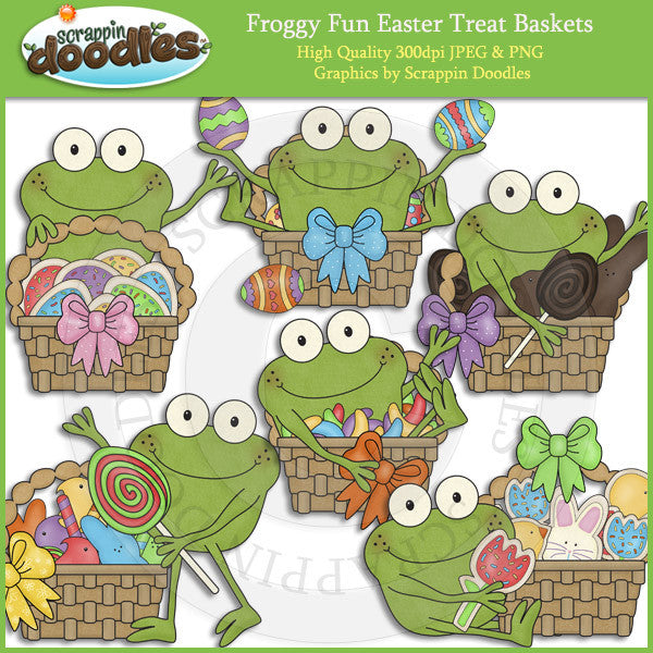 Froggy Fun Easter Treat Baskets Clip Art Download
