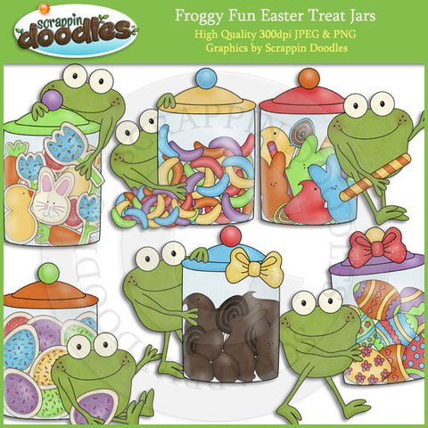 Froggy Fun Easter Treat Jars Clip Art Download