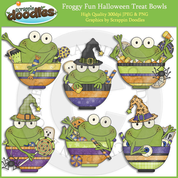 Froggy Fun Halloween Treat Bowls Clip Art Download