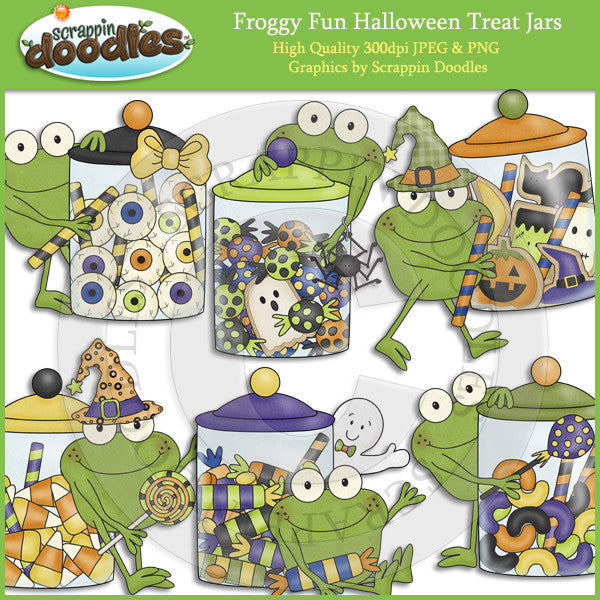 Froggy Fun Halloween Treat Jars Clip Art Download