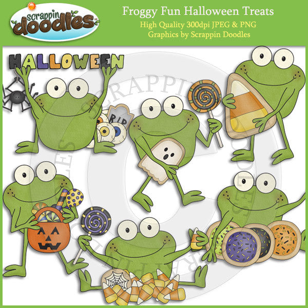 Froggy Fun Halloween Treats Clip Art Download