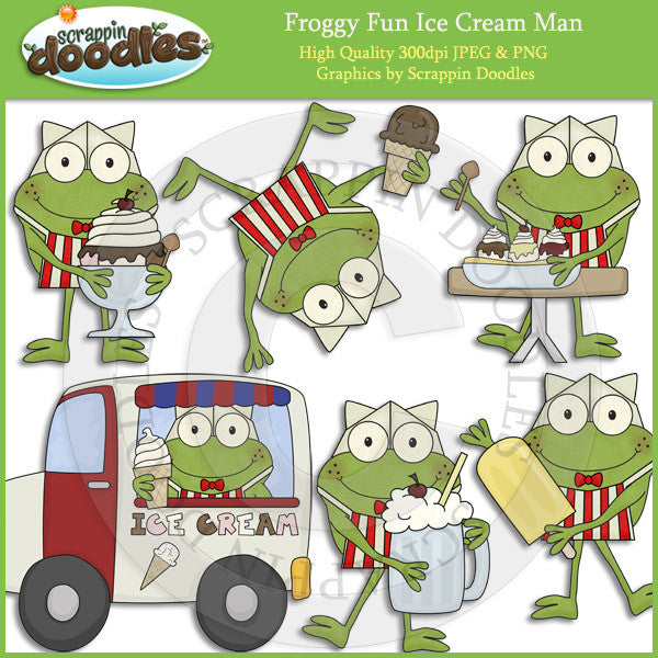 Froggy Fun Ice Cream Man Clip Art Download
