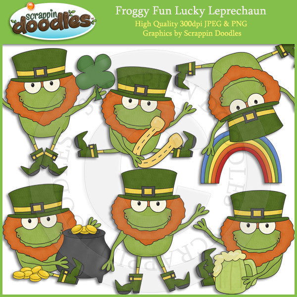 Froggy Fun Lucky Leprechauns Clip Art Download