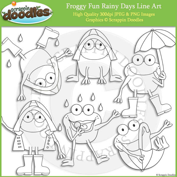 Froggy Fun Rainy Days Clip Art