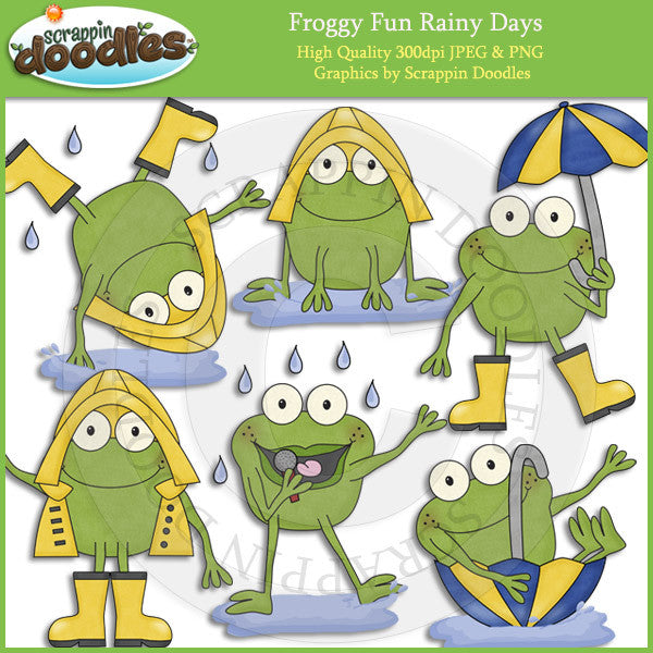 Froggy Fun Rainy Days Clip Art Download
