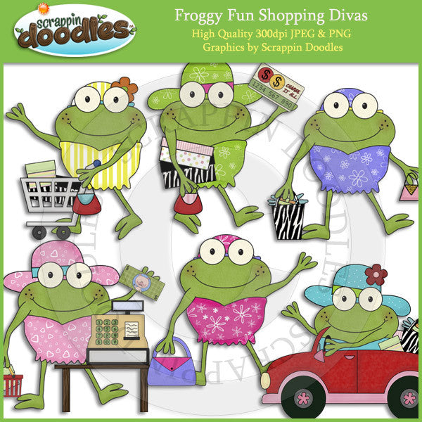 Froggy Fun Shopping Divas Clip Art Download