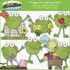 Froggy Fun Spring Days Clip Art