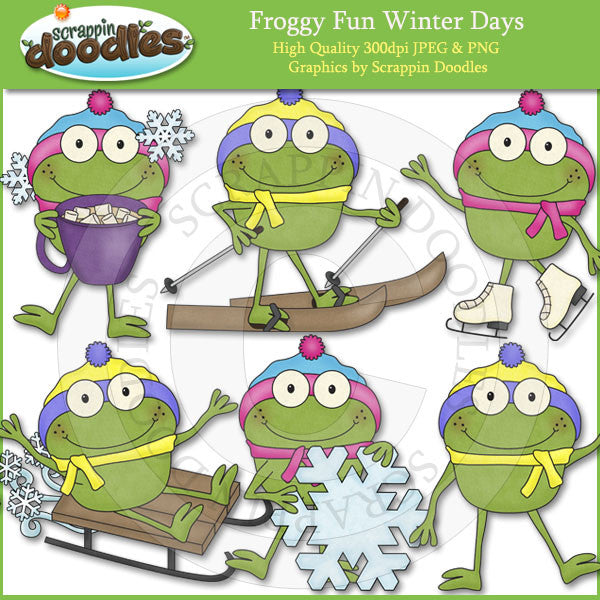 Froggy Fun Winter Days Clip Art