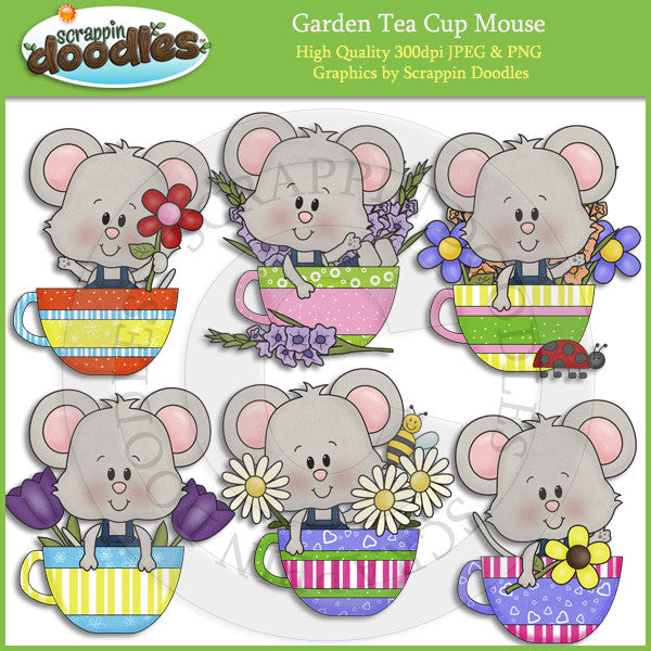 Garden Tea Cup Mouse Clip Art Download