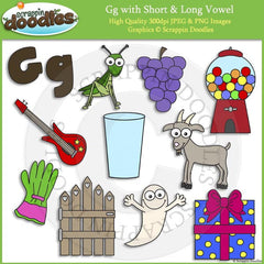 Gg Short and Long Vowel Clip Art and Line Art