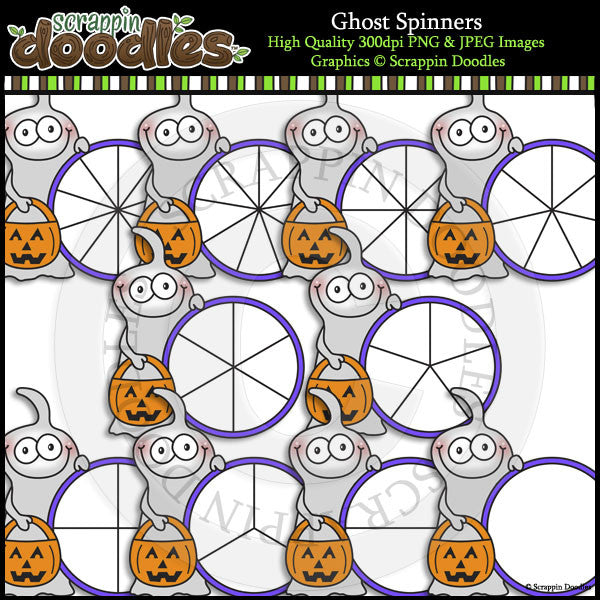Ghost Spinners Clip Art & Line Art