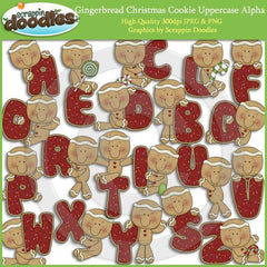 Gingerbread Christmas Cookie Uppercase Alpha Download
