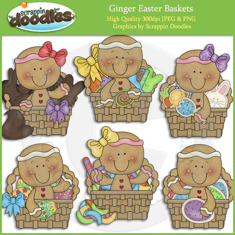Ginger Easter Baskets Clip Art Download