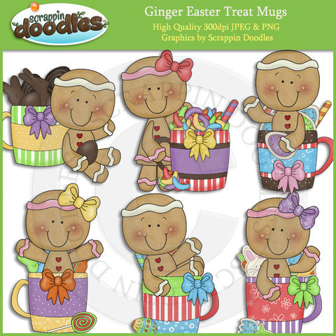 Ginger Easter Treat Mugs Clip Art Download