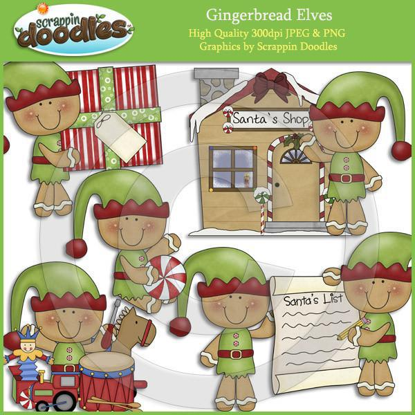 Gingerbread Elves Clip Art Download