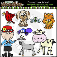 Granny Loves Animals Clip Art & Line Art