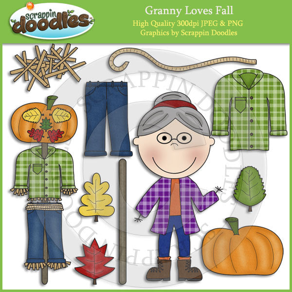 Granny Loves Fall Clip Art Download