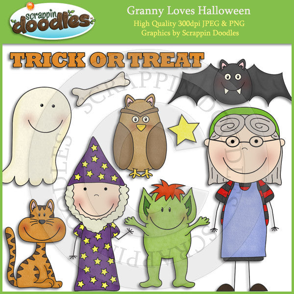 Granny Loves Halloween Clip Art Download