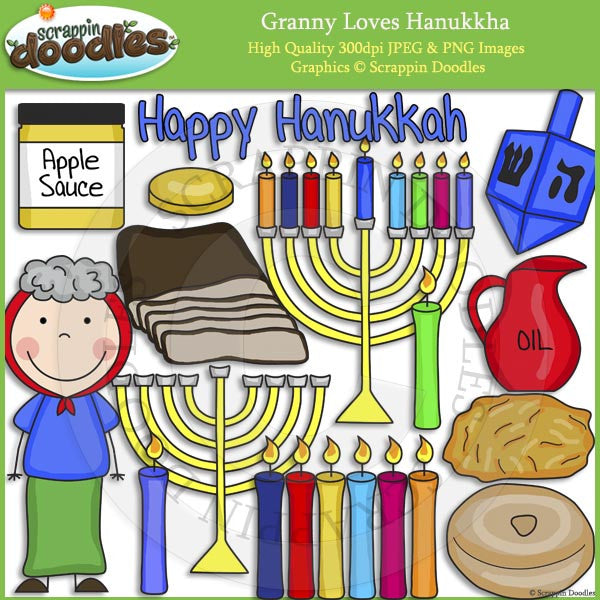 Granny Loves Hanukkah Clip Art