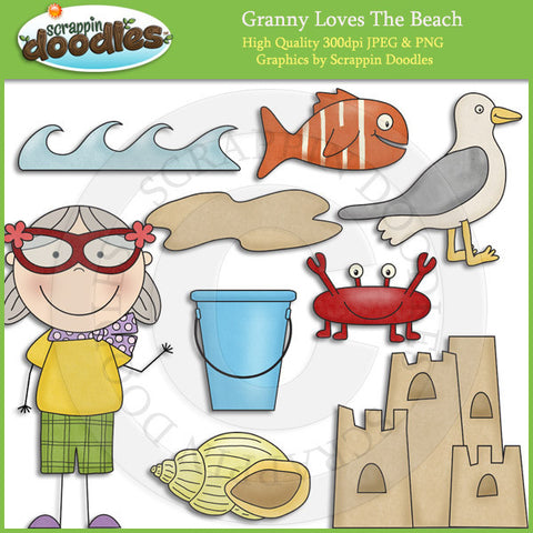Granny Loves The Beach Clip Art Download
