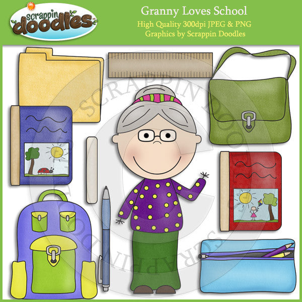 Granny Loves School Clip Art Download