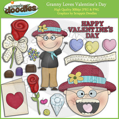 Granny Loves Valentine's Day Clip Art Download