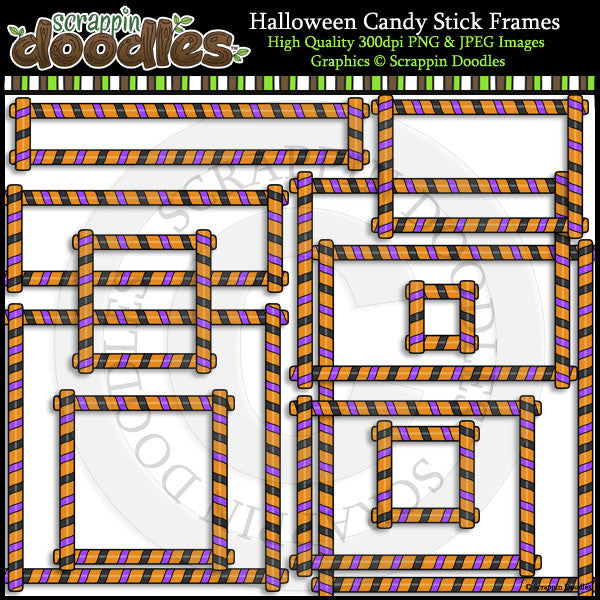 Halloween Candy Stick Frames Clip Art & Line Art