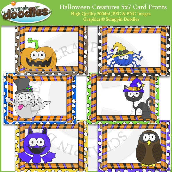 Halloween Creatures 5x7 Card Fronts